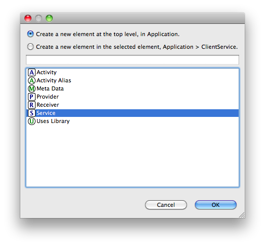 Eclipse dialog for Android services generation